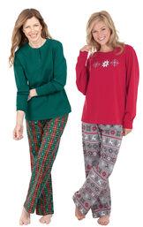 Models wearing Christmas Tree Plaid Pajamas and Nordic Pajamas.