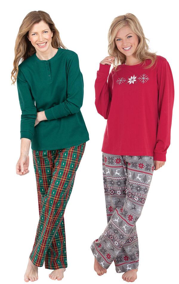 Models wearing Christmas Tree Plaid Pajamas and Nordic Pajamas. image number 0
