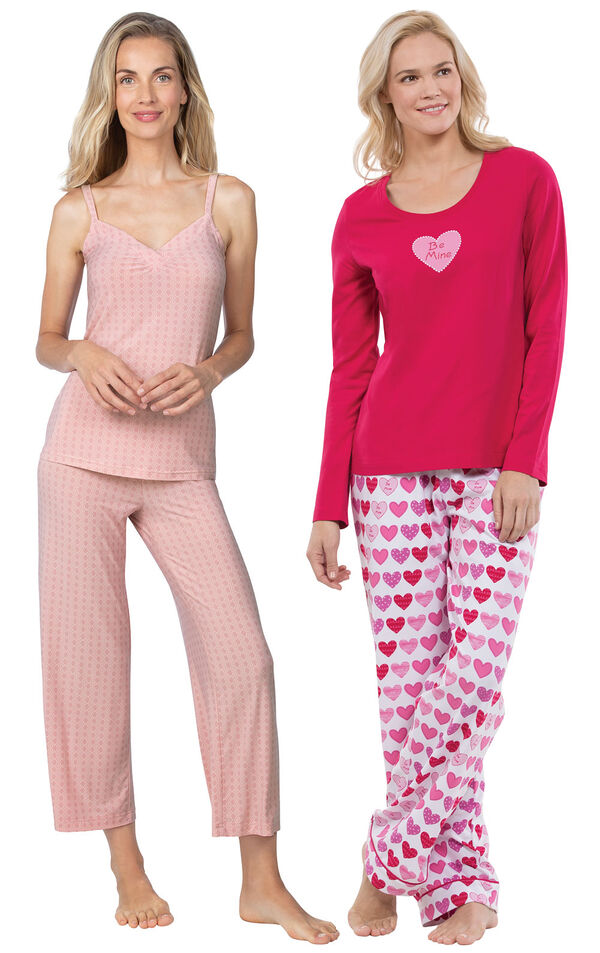 Models wearing Naturally Nude Capri Pajamas - Pink and Be Mine Pajamas. image number 0