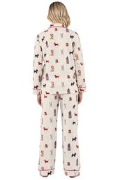 Model wearing Holiday Dog Print Button-Front PJ for Women, facing away from the camera image number 1