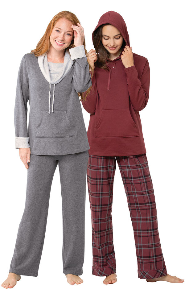 Burgundy Plaid Hooded PJs and Charcoal World's Softest PJs image number 0