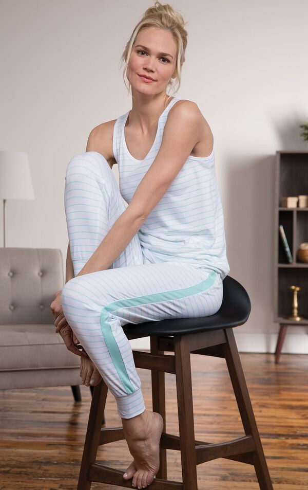 Model wearing White with Mint stripes tank top and jogger pants - one of the ways you can wear the Three-Piece Cute Pajama Set  image number 4