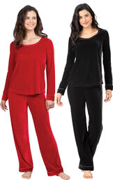 Models wearing Velour Long-Sleeve Pajamas - Black and Velour Long-Sleeve Pajamas - Ruby. image number 0