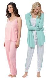 Models wearing Velour Cami Pajamas - Pink and Three-Piece Cute Pajama Set. image number 0