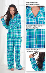Close-ups of the features of Wintergreen Plaid Boyfriend Flannel Pajamas which include a notched collar and chest pocket, classic button-front boyfriend style and long sleeves with cuffs and piping image number 4