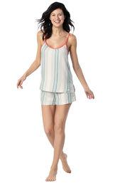 Model wearing Blue and White Stripe Margaritaville Cami Short Set for Women image number 0