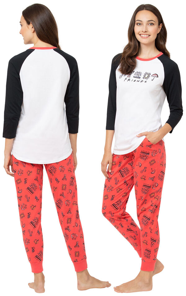 Model wearing Black and Red Friends Jogger PJs, facing away from the camera and then facing to the side image number 1