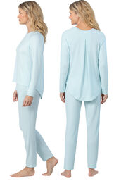 Model wearing Light Blue Scoop Neck Pajama Set for Women, facing away from the camera and then to the side image number 1