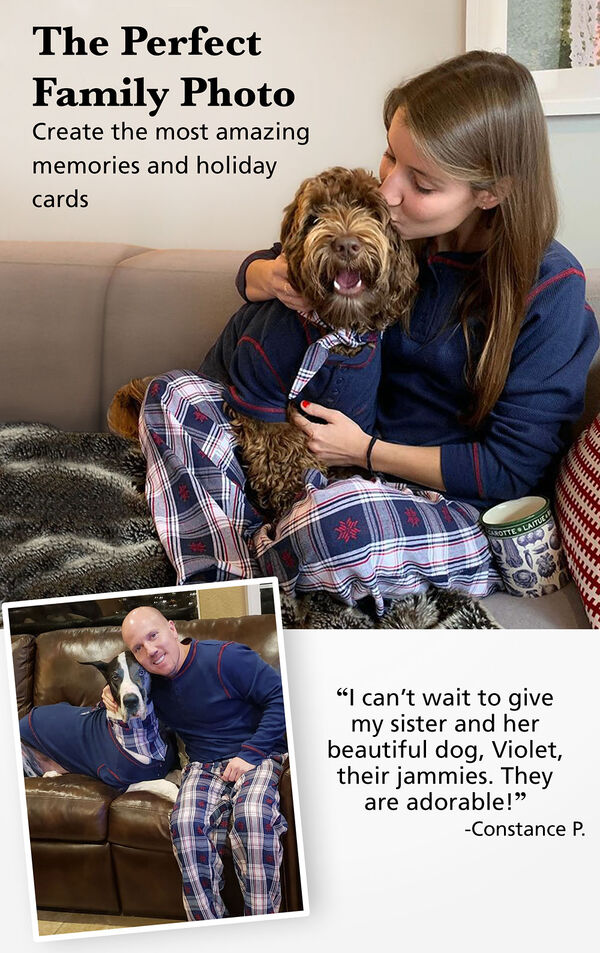 Customers and their pets wearing matching Snowfall Plaid Pajamas. Customer Quote: I can't wait to give my sister and her beautiful dog their jammies. They are adorable! - Constance P. image number 1