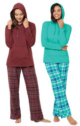 Wintergreen and Burgundy Plaid Hooded PJs Gift Set image number 0