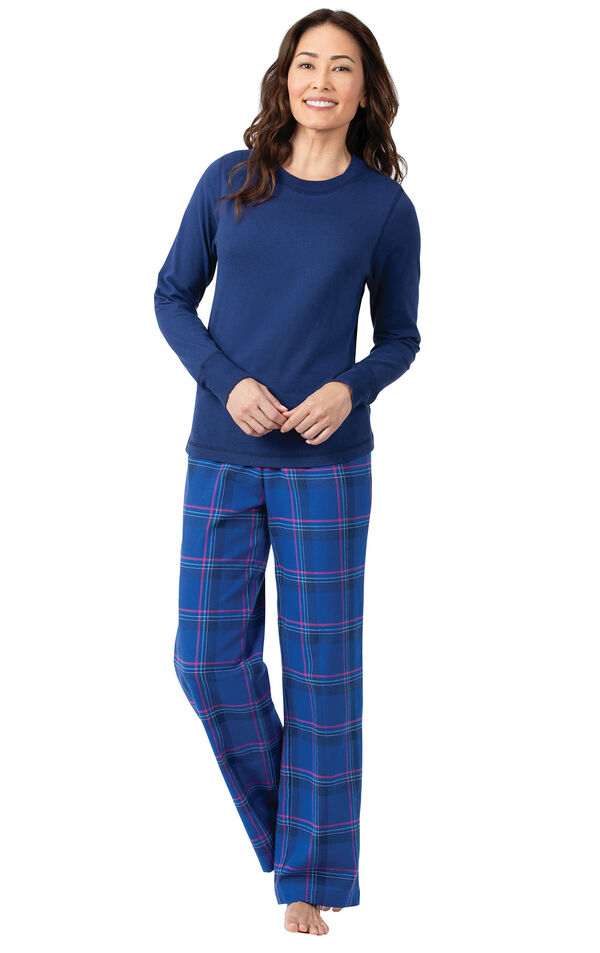 Model wearing Indigo Plaid Flannel PJ for Women image number 0