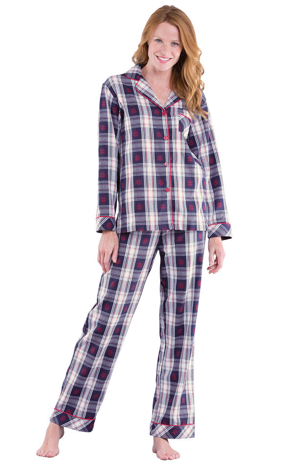 Model wearing Dark Blue Snowflake Plaid Button-Front PJ for Women image number 0