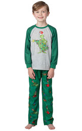 Model wearing Green and Gray Grinch PJ for Kids image number 0