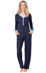 Model wearing Whisper Knit Henley Pajamas - Navy with Dots image number 0