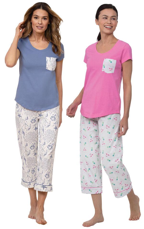 Models wearing Summer Shells Capri Pajamas - Blue and Flamingo Stripe Short-Sleeve Capri Pajamas image number 0