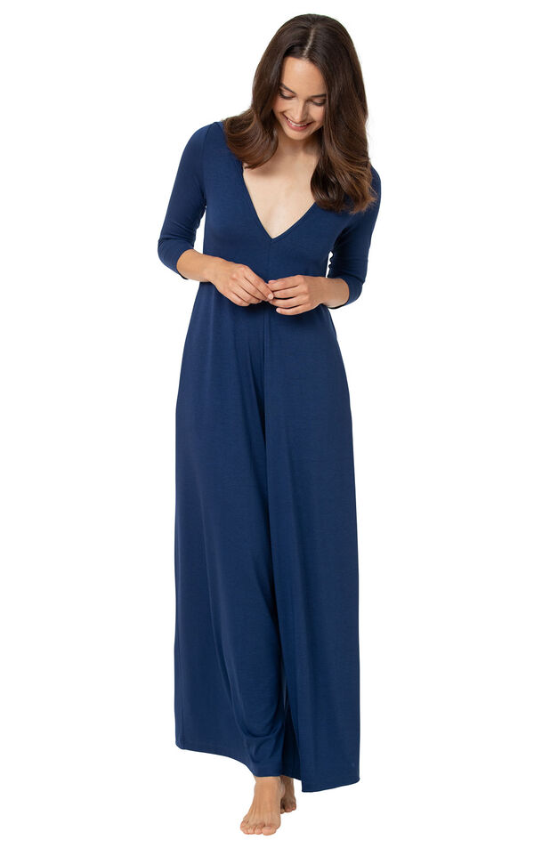 Navy Blue Jumpsuit PJ - Women image number 2