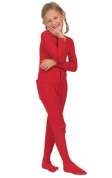 Model wearing Red Dropseat Onesie PJ for Girls