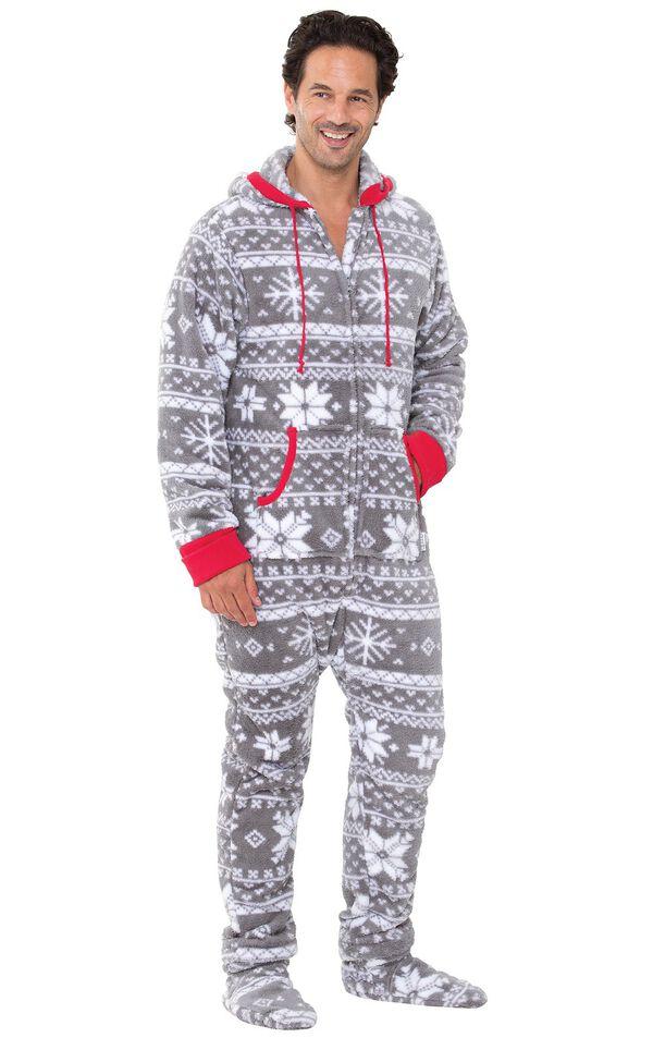 Model wearing Hoodie-Footie - Gray Fair Isle Fleece for Men image number 0