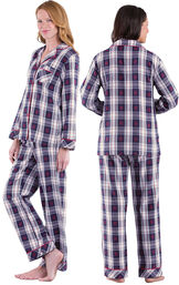 Model wearing Dark Blue Snowflake Plaid Button-Front PJ for Women, facing away from the camera and then to the side image number 1