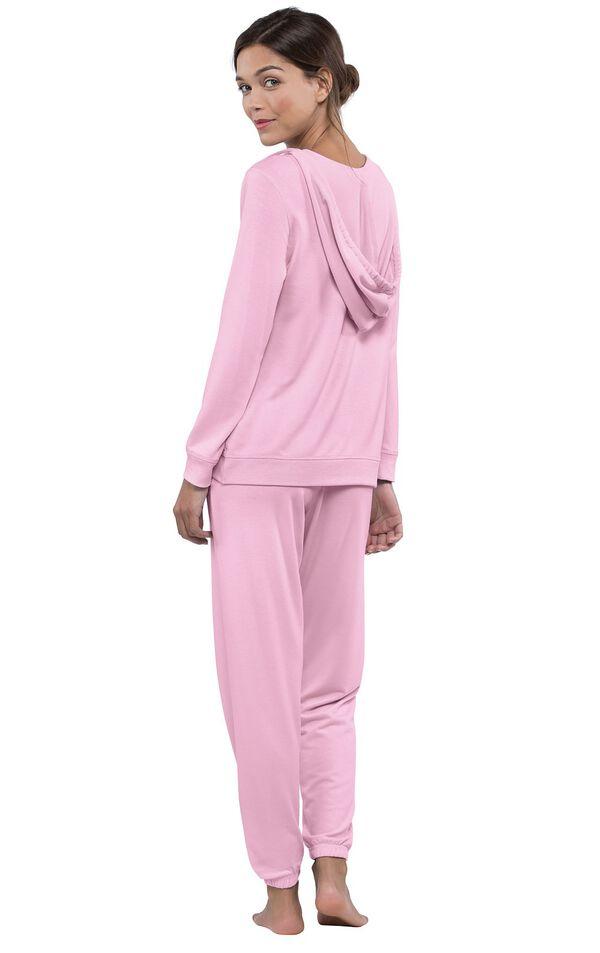 Model wearing Pink Hoodie PJs, facing away from the camera image number 1