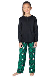 Model wearing Black and Green Snowman Argyle Henley PJ for Girls