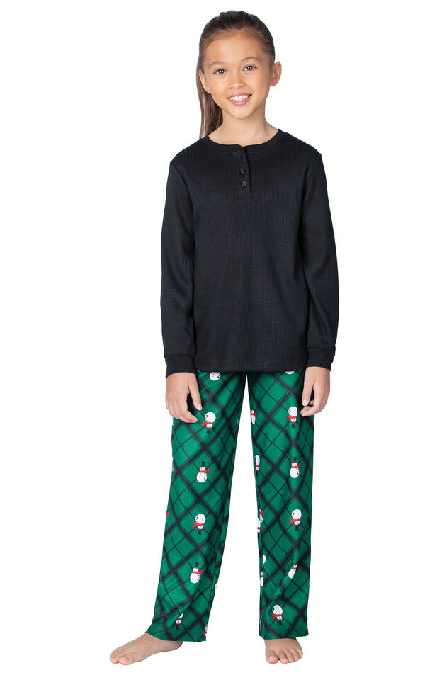 Model wearing Black and Green Snowman Argyle Henley PJ for Girls image number 0