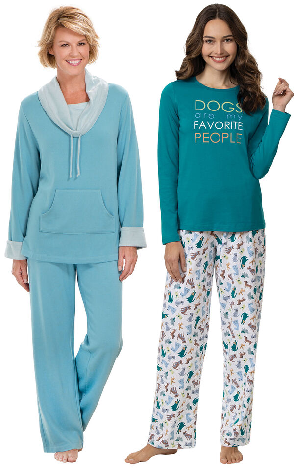 Models wearing Dogs Are My Favorite Pajamas and World's Softest Pajamas - Teal image number 0