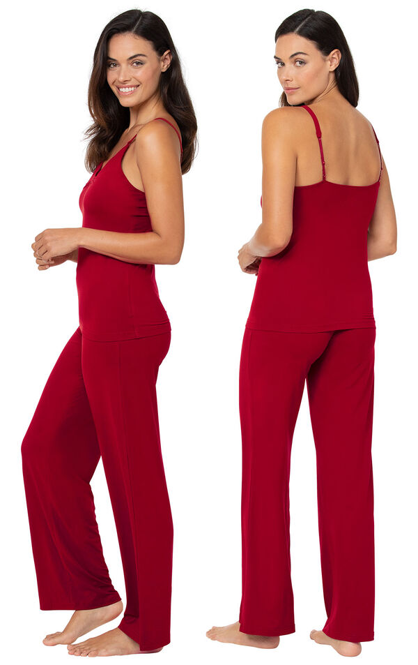 Model wearing Naturally Nude Cami Pajamas - Red, facing away from the camera and then facing to the side image number 1