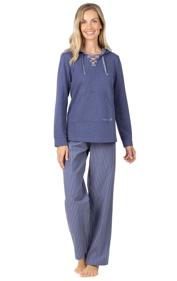 Model wearing Blue Stripe Margaritaville Lace-up Hoodie PJ for Women image number 0