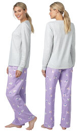 Model wearing Purple Cat Print PJ with Graphic Tee for Women, facing away from the camera and then to the side image number 1
