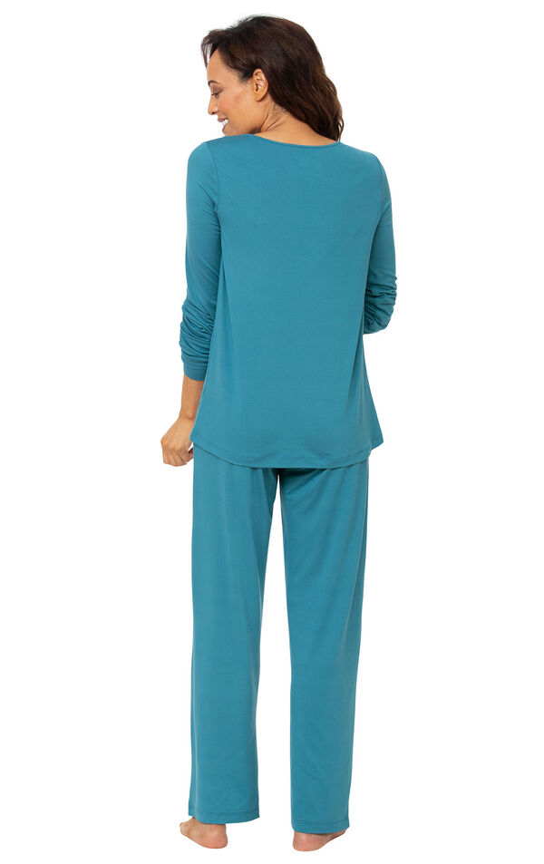 Model wearing Addison Meadow PajamaGram Naturally Nude Long Sleeve Pajamas - Teal, facing away from the camera image number 1