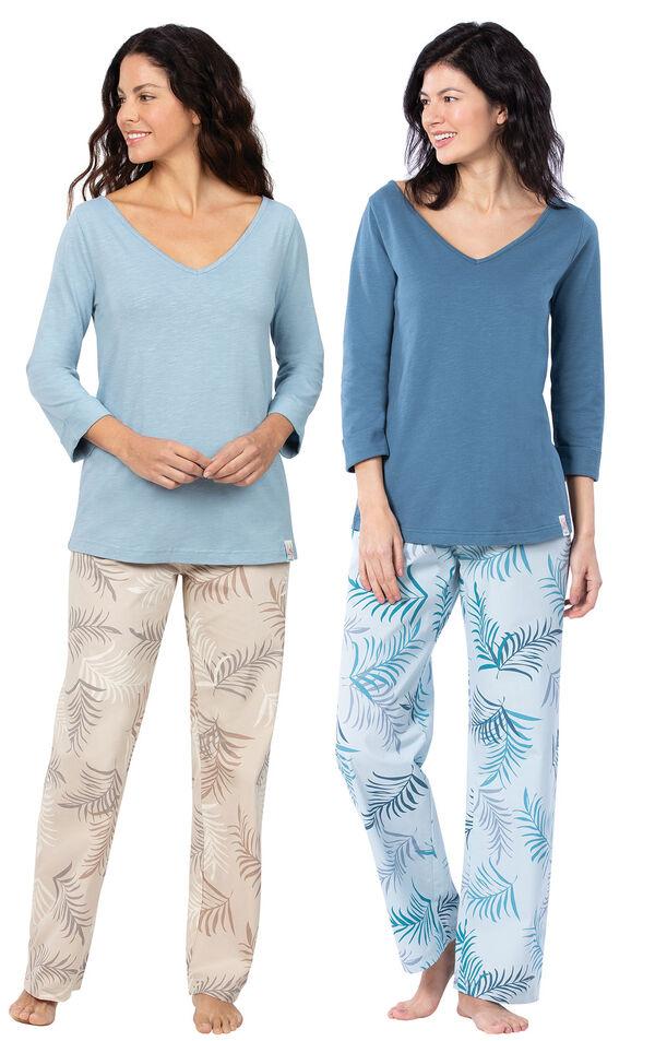 Models wearing Margaritaville Tropical Dreams Pajamas - Sand and Margaritaville Tropical Dreams Pajamas - Blue. image number 0