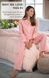 Coral Gingham Button-Front PJ for Women image number 2