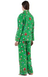 Model wearing Green Charlie Brown Christmas PJ for Women, facing away from the camera image number 1