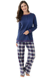 Model wearing Dark Blue Snowflake Plaid Thermal Top PJ for Women