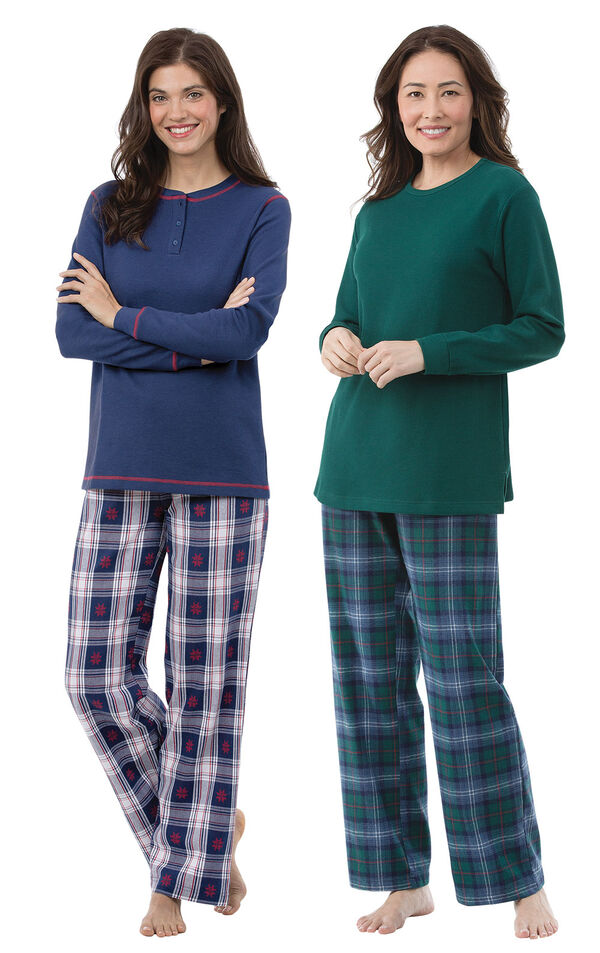 Snowfall Plaid and Heritage Plaid Thermal-Top PJs Gift Set - Tall image number 0