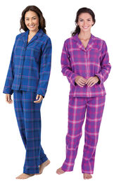 Models wearing Indigo Plaid Boyfriend Flannel Pajamas and Raspberry Plaid Boyfriend Flannel Pajamas. image number 0