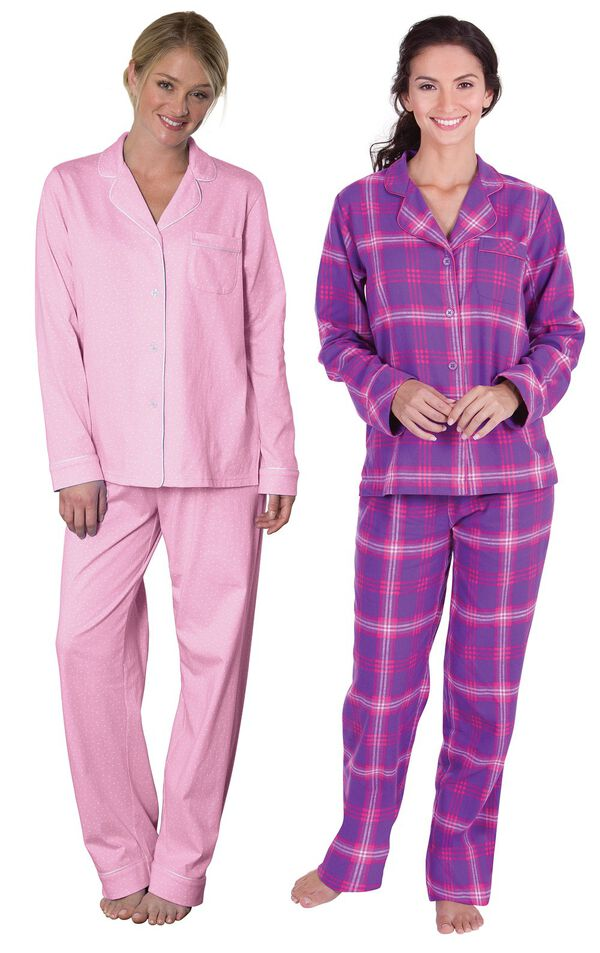 Models wearing Classic Polka-Dot Boyfriend Pajamas - Pink and Raspberry Plaid Boyfriend Flannel Pajamas. image number 0