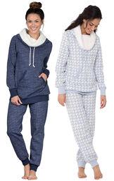 Models wearing Solstice Shearling Rollneck Pajamas and Snow Day Shearling Rollneck Pajamas.