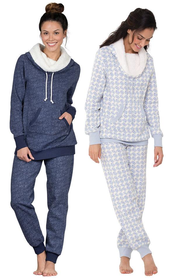 Models wearing Solstice Shearling Rollneck Pajamas and Snow Day Shearling Rollneck Pajamas. image number 0