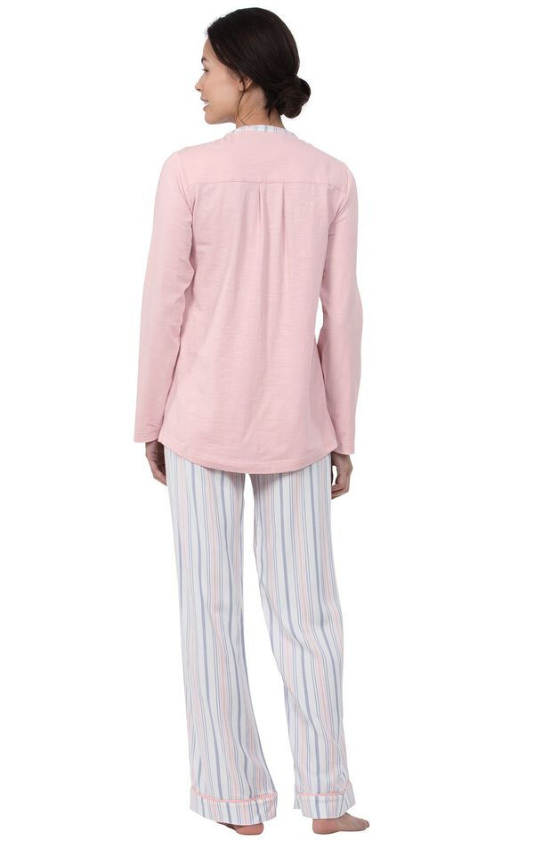Model wearing Pink Henley PJ with Striped Pants for Women, facing away from the camera image number 2