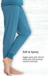 Teal Whisper Knit Jogger PJs feature jogger pants with rib-knit waist and cuffs image number 3