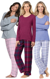 Models wearing World's Softest Flannel Pullover Pajamas in Lavender Plaid, Black Cherry Plaid and Pink Plaid. image number 0