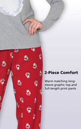 2-Piece Comfort - Warm matching long-sleeve graphic top and full-length print pants image number 7