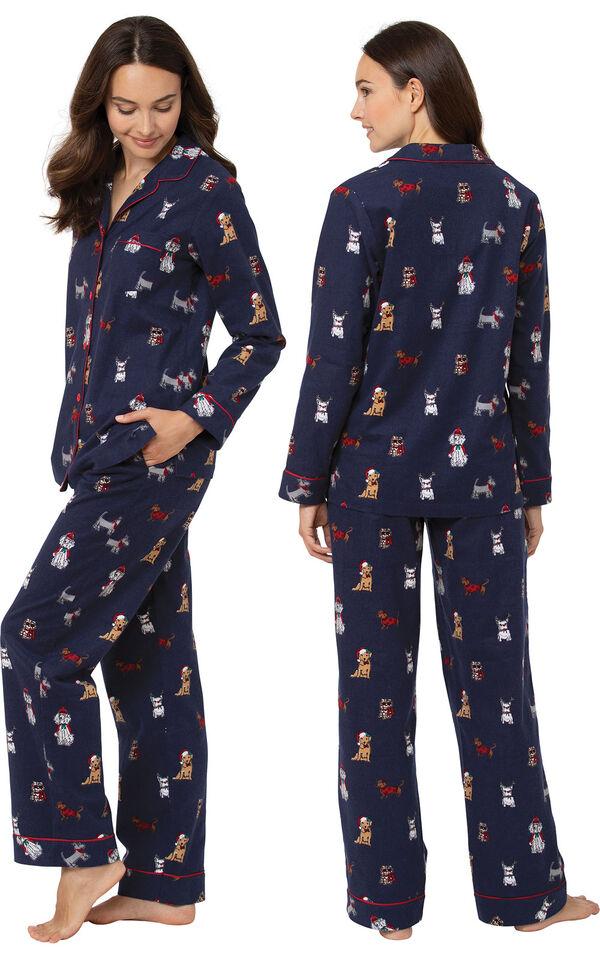 Christmas Dogs Boyfriend Pajamas - Navy image number 1
