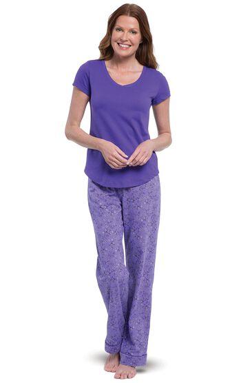 Short-Sleeve V-Neck Pajamas- Purple Floral