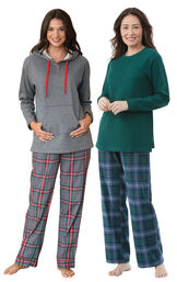 Heritage Plaid Thermal-Top and Gray Plaid Hooded PJs - Petite image number 0