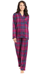 Model wearing Pink Plaid Button-Front PJ for Women image number 1