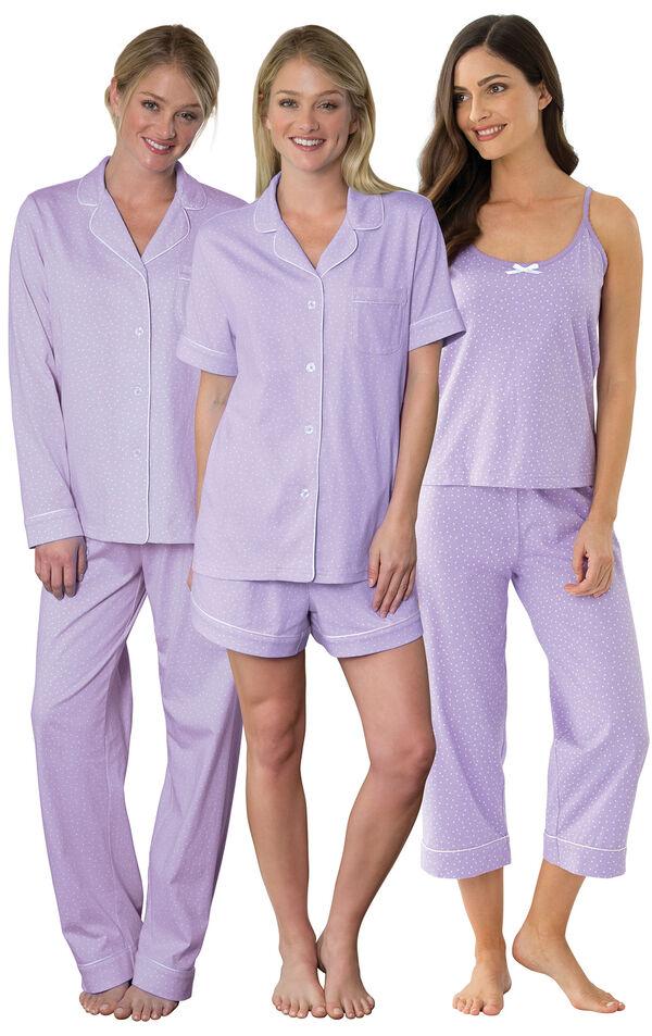Models wearing Classic Polka-Dot Capri Pajamas - Lavender, Classic Polka-Dot Short Set - Lavender and Classic Polka-Dot Boyfriend Pajamas - Lavender. image number 0