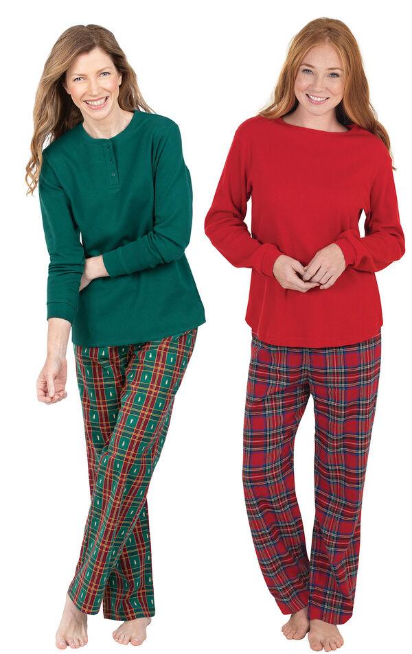 Models wearing Christmas Tree Plaid Pajamas and Stewart Plaid Thermal-Top Pajamas. image number 0